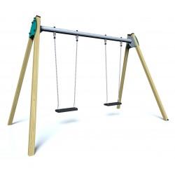 Balançoire LAND - vue de face - structure de jeu extérieur - Ouno by Proludic